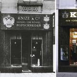 Adolf Loos, sartoria Knize, Vienna, 1910-13; fronte su strada, stato originario e veduta recente.